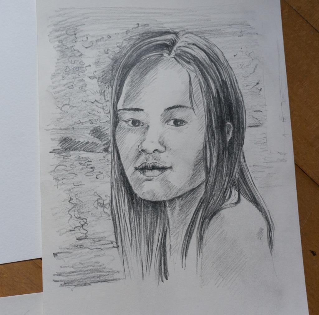 Zeichnung der Schauspielerin Elizabeth Ballang